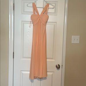 Peach tea length dress